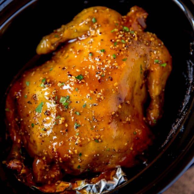 Slow Cooker Honey Orange Garlic Chicken in crock pot