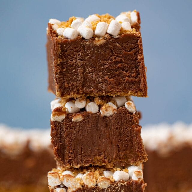 s'mores fudge in a stack