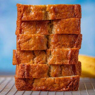 Sour Cream Banana Bread slices in stack