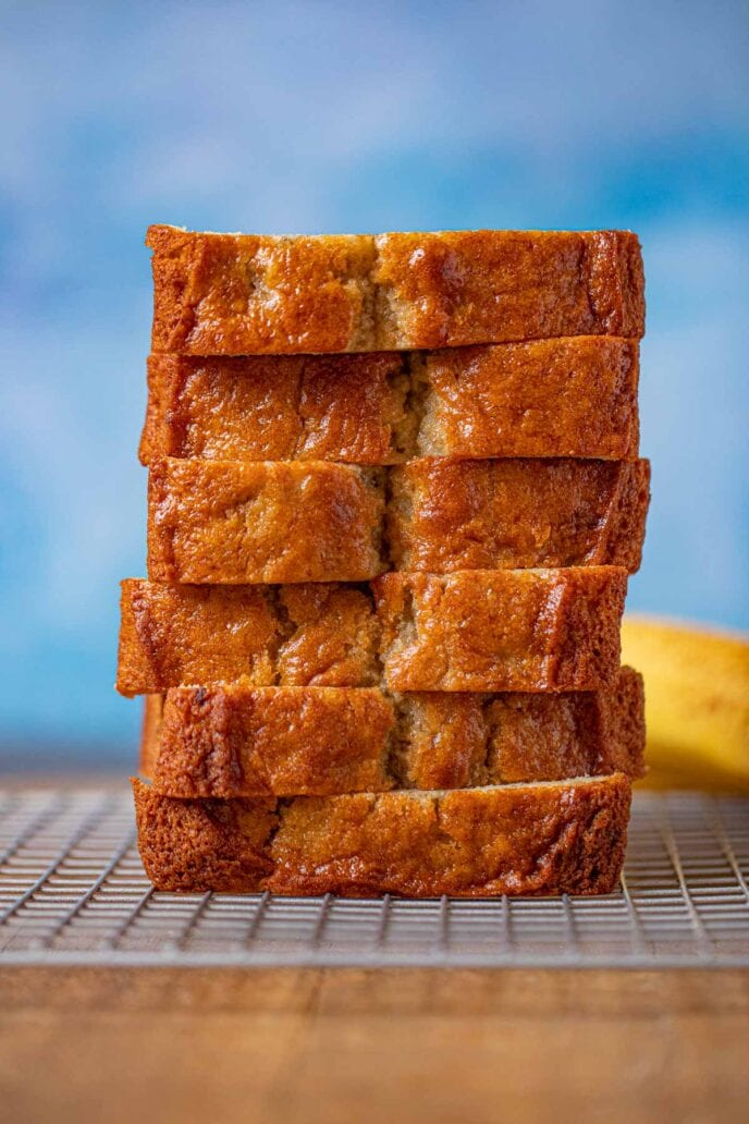 Sour Cream Banana Bread slices in stack