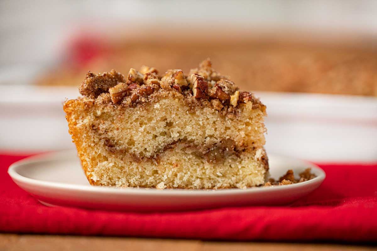 Sour Cream Coffee Cake on cream plate