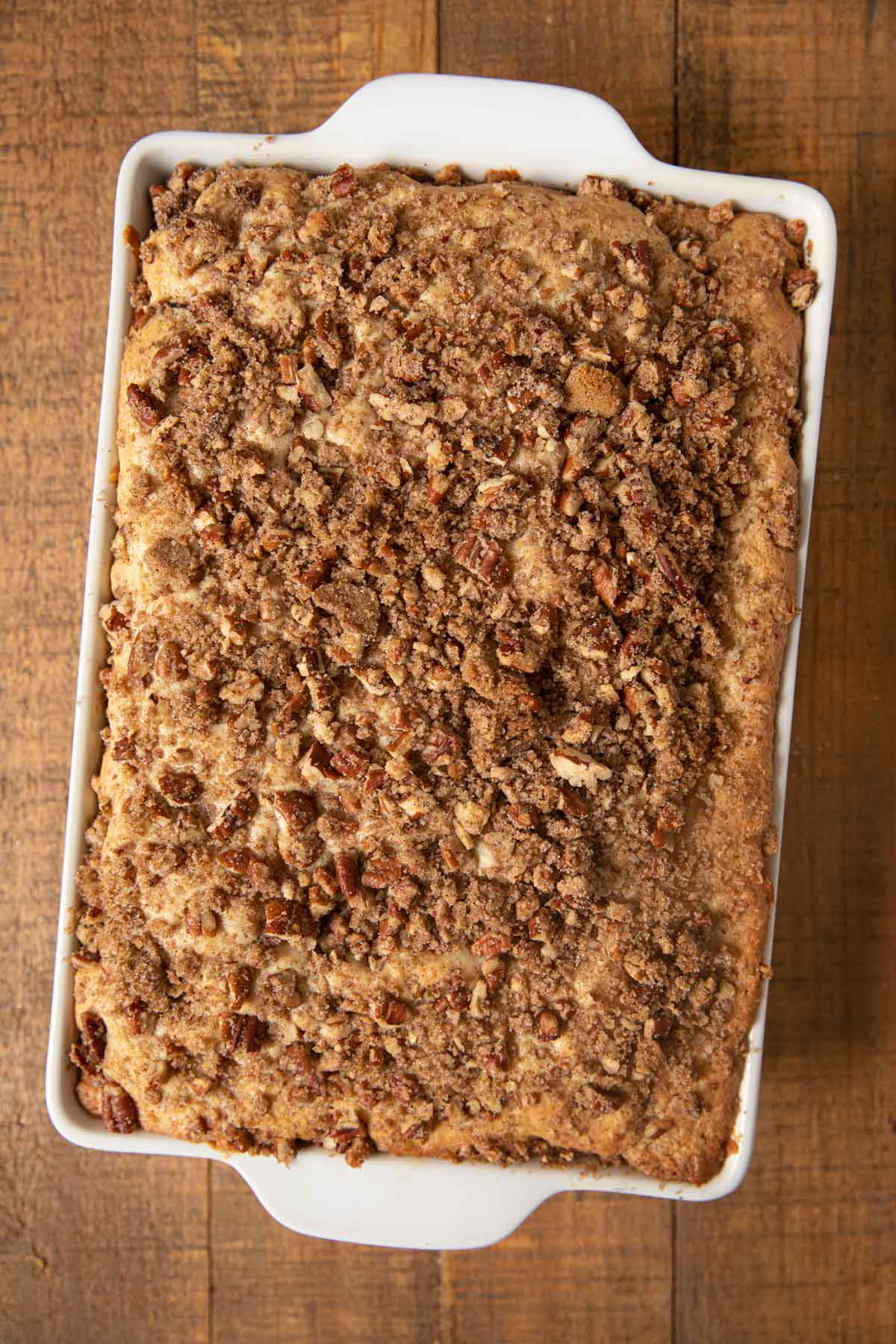 Sour Cream Coffee Cake in baking dish