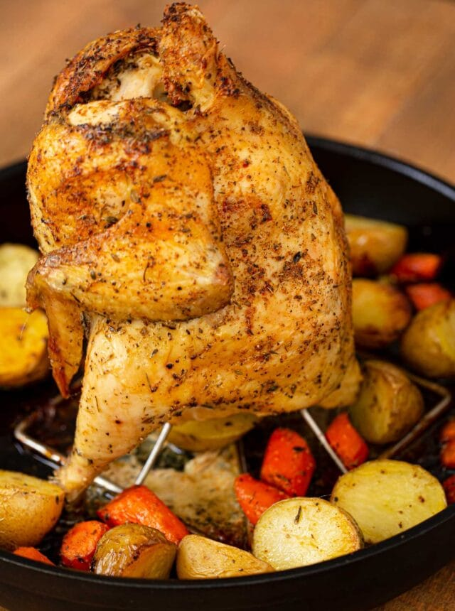 Vertical Roasted Chicken in black pot