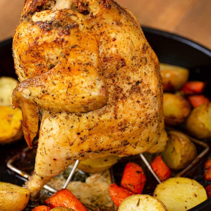 Vertical Roasted Chicken in black pot