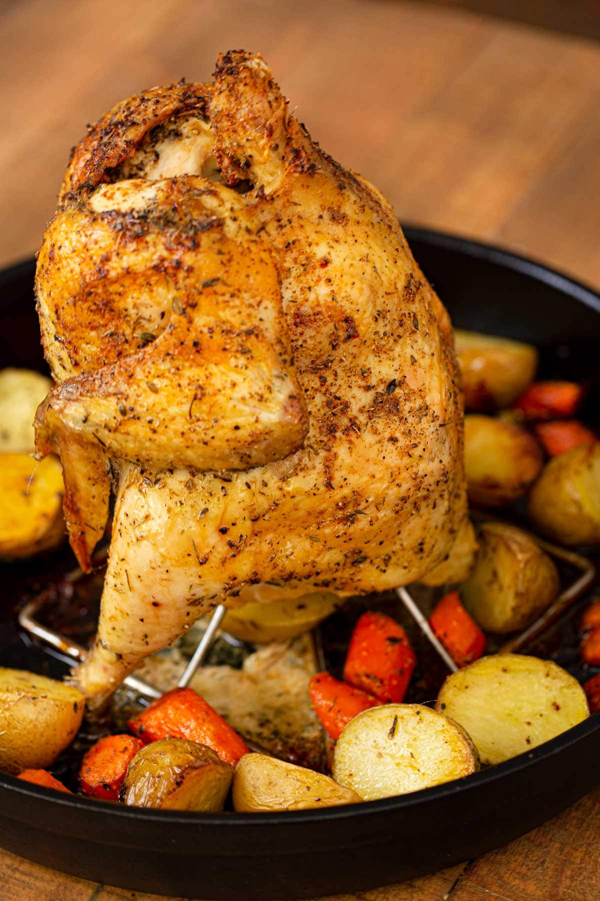 Vertical Roasted Beer Can Chicken Dinner Then Dessert