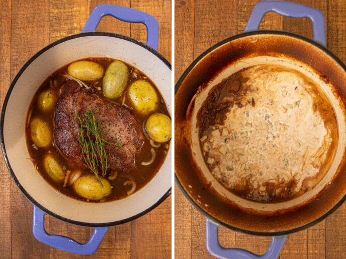 Steakhouse Pot Roast with cream being added to pot