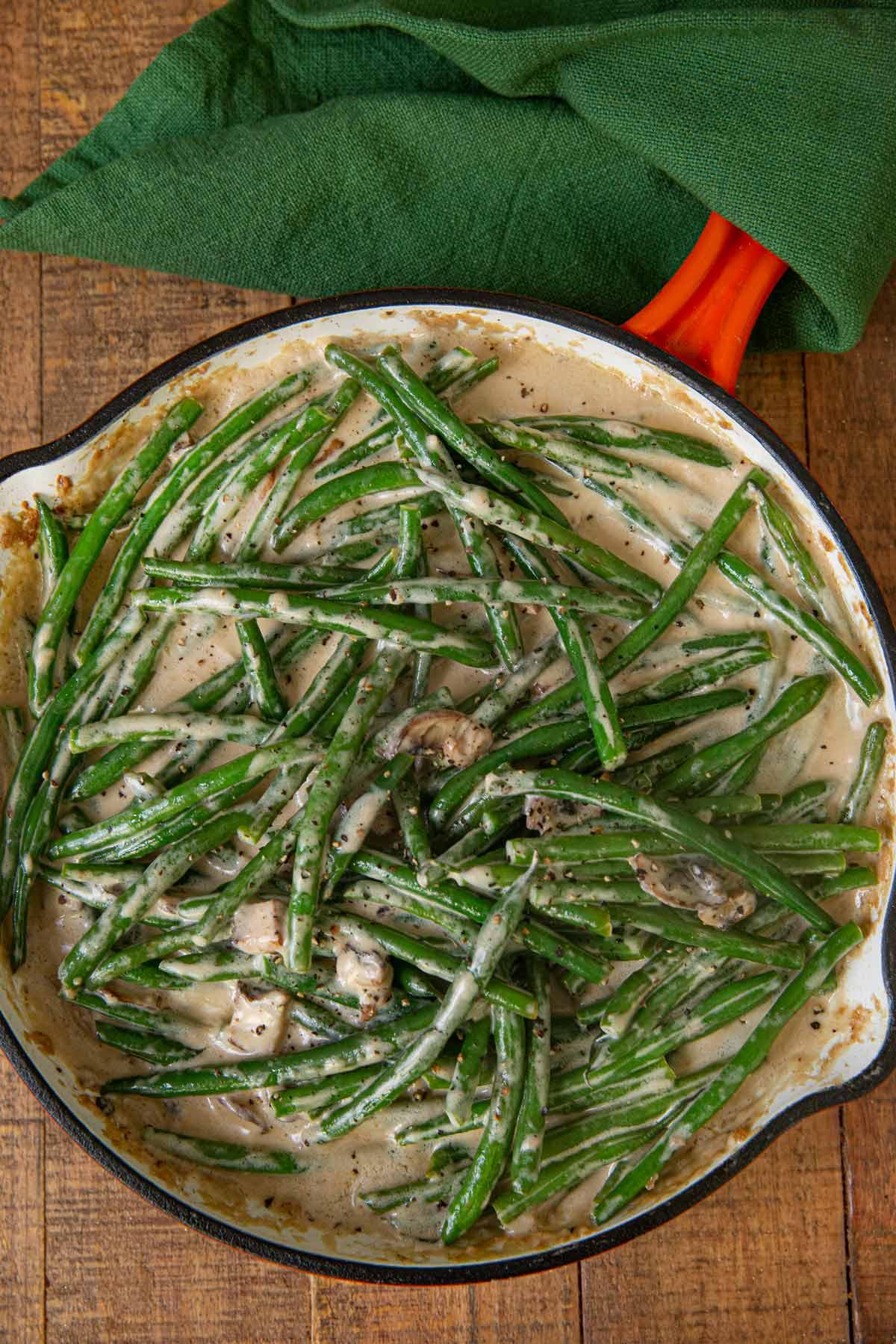 Stovetop Green Bean Casserole in skillet