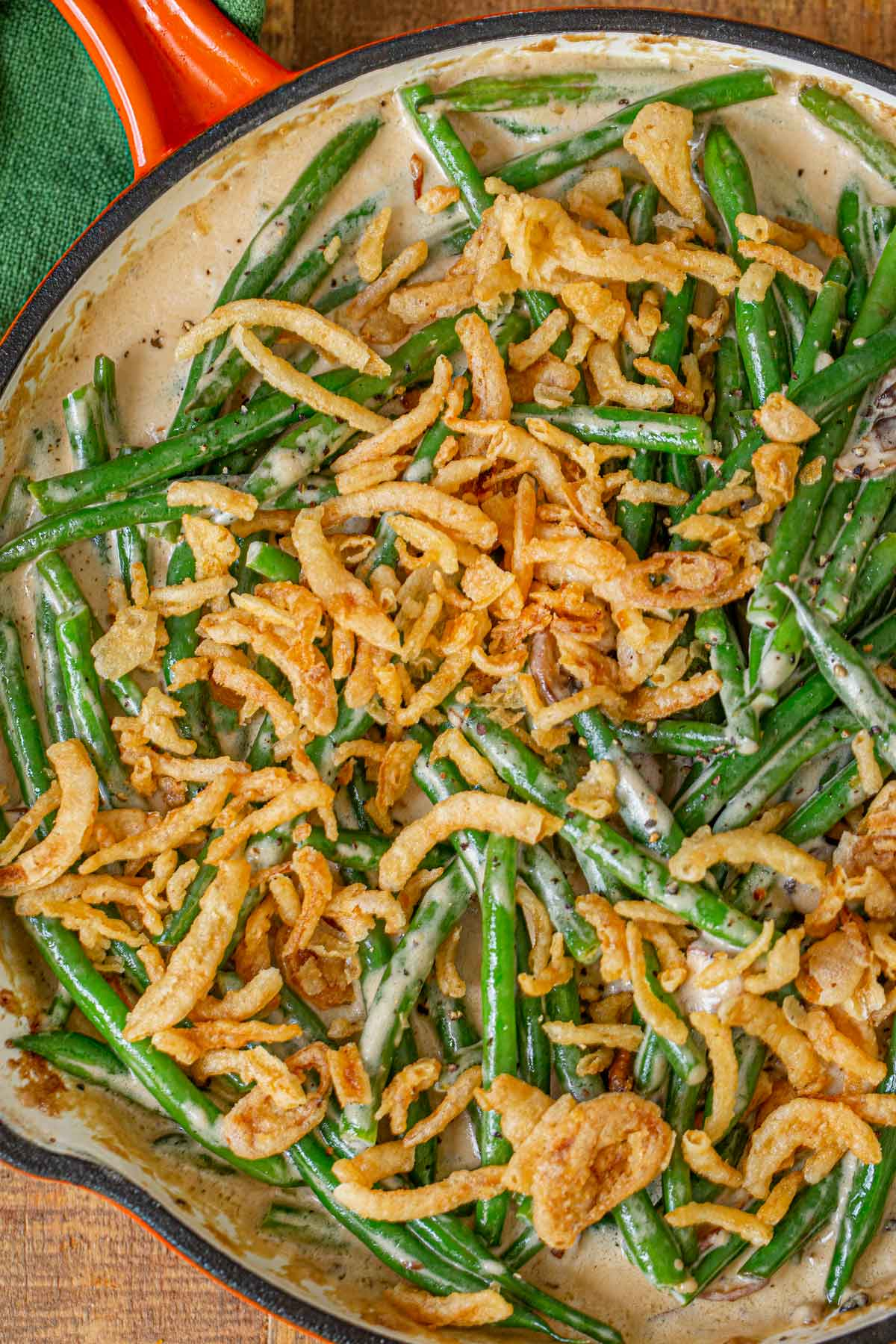Stovetop Green Bean Casserole in skillet with French onions