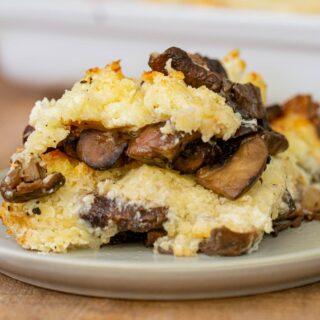 Stuffed Mushroom Casserole serving on plate