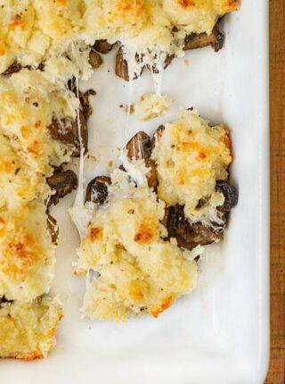 Stuffed Mushroom Casserole in baking dish
