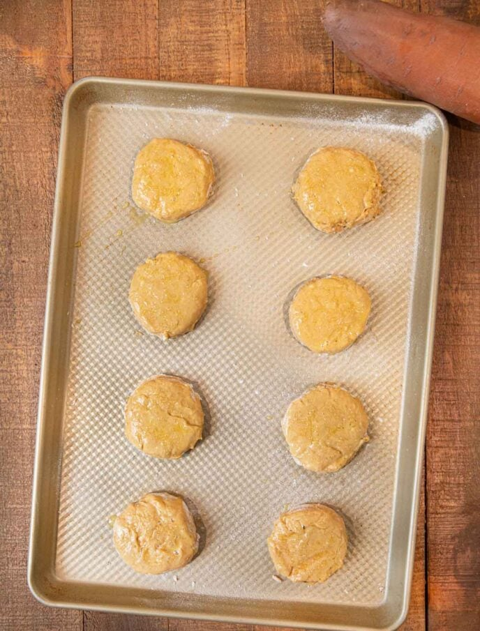 Sweet Potato Biscuits before baking on a baking sheet