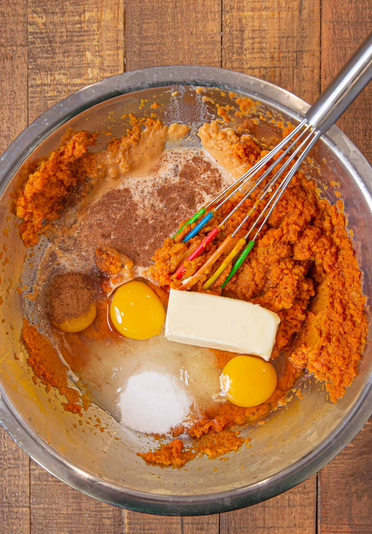 Ingredients for Sweet Potato Soufflé in metal bowl