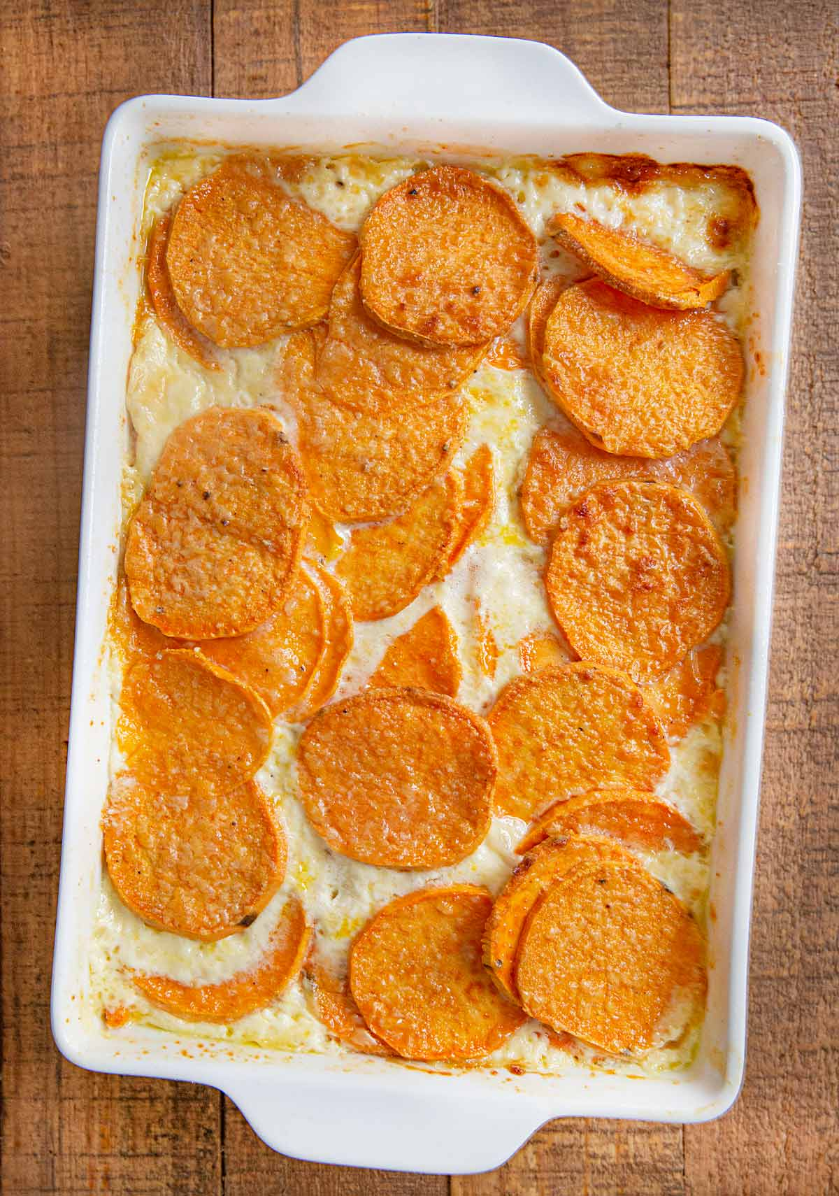Sweet Potatoes Au Gratin in baking dish