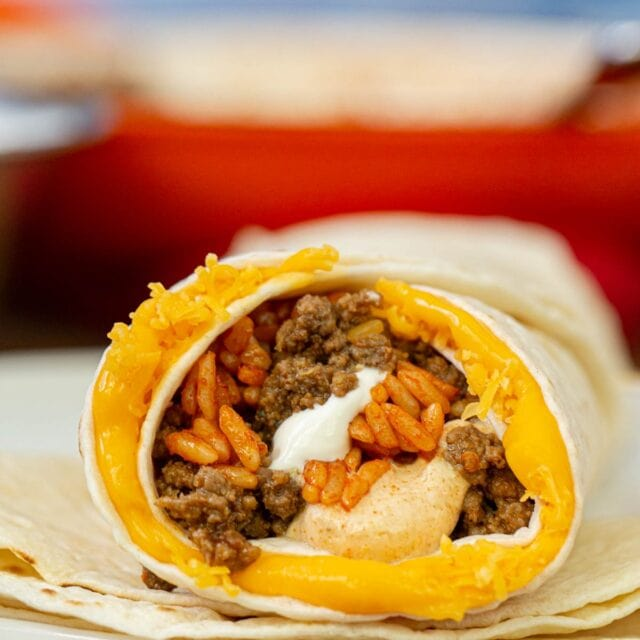 Taco Bell Quesarito on plate