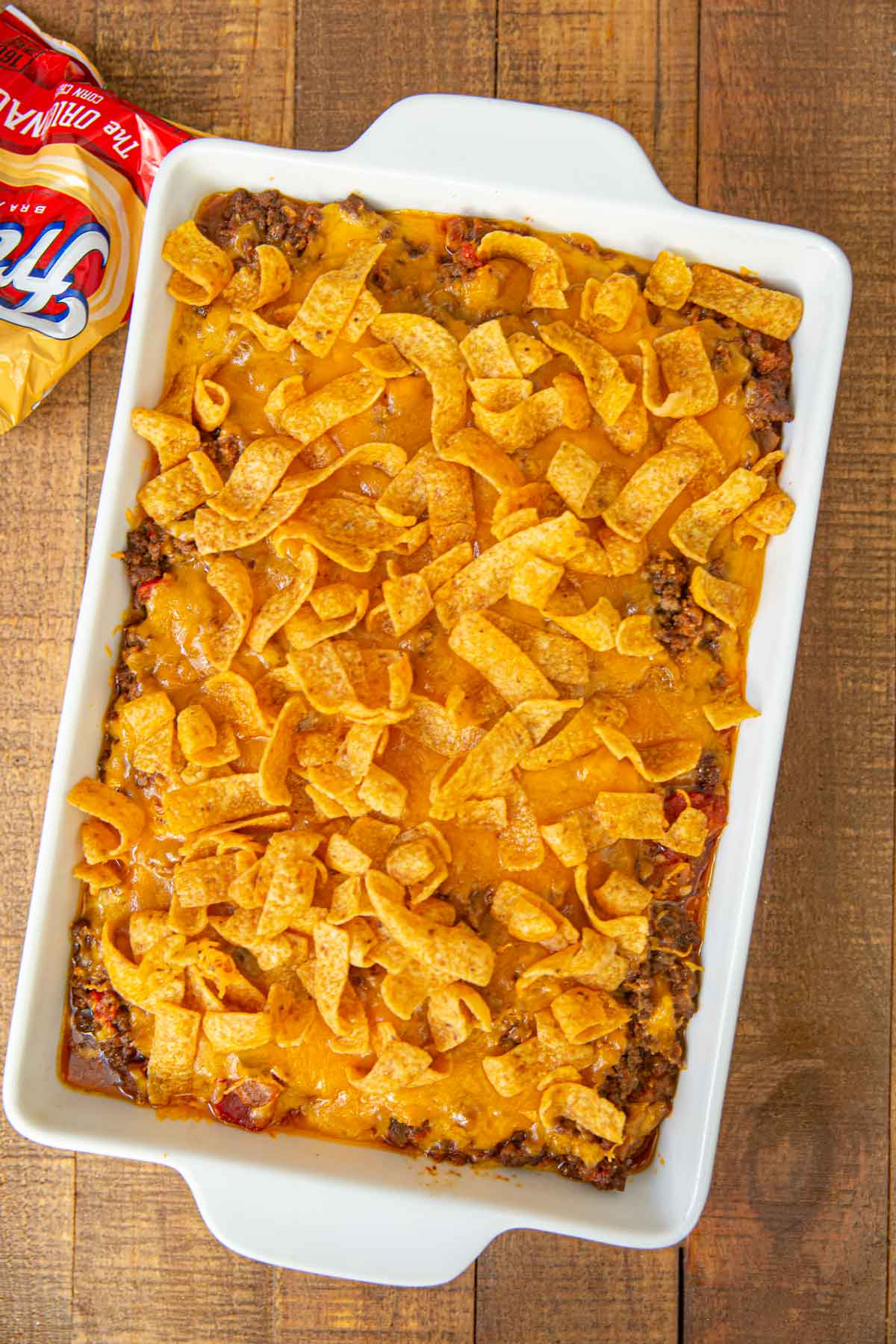 Taco Casserole with Fritos and cheese