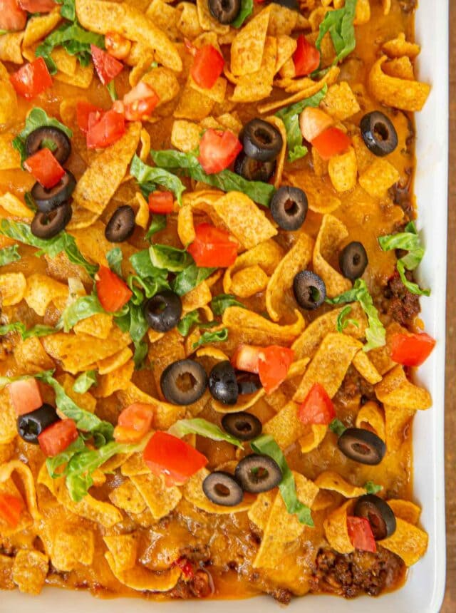 Taco Casserole in baking dish top down