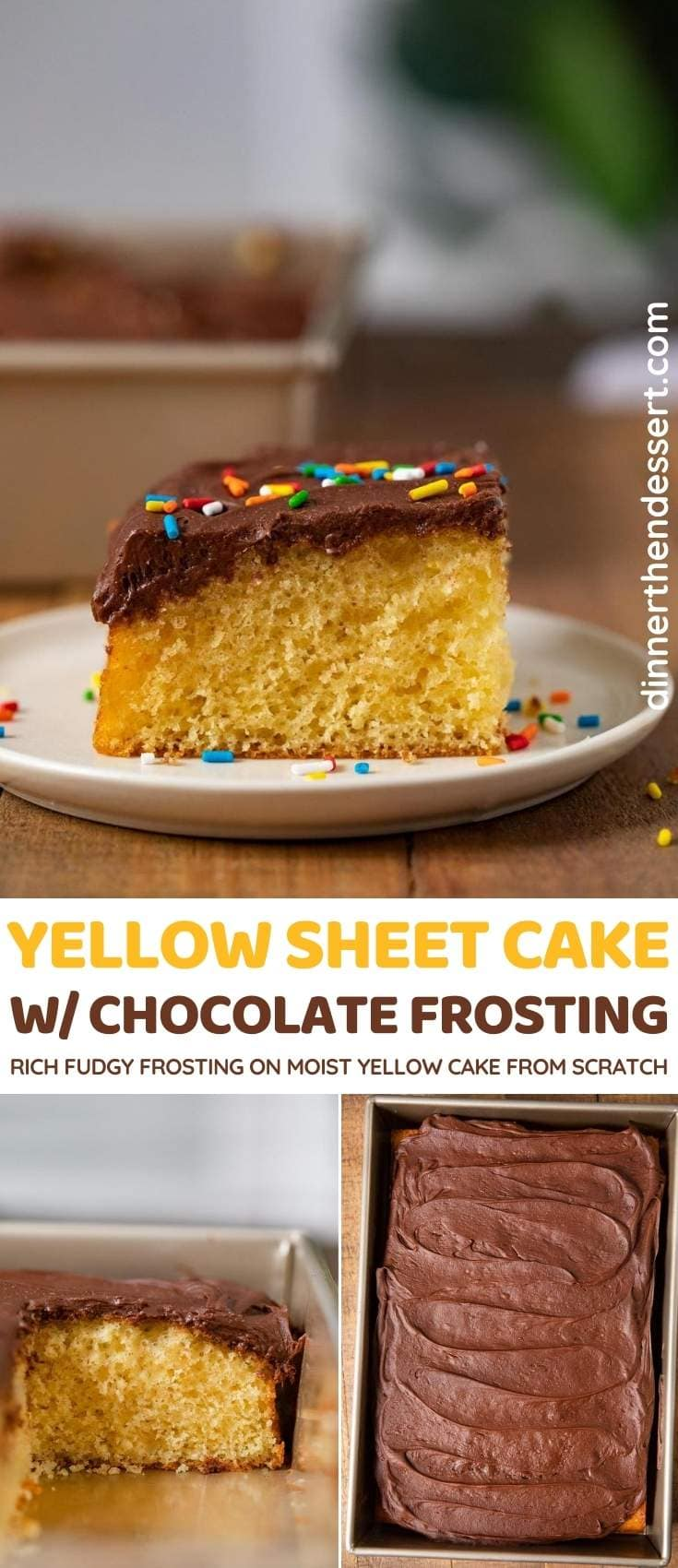 Yellow Sheet Cake with Chocolate Frosting collage
