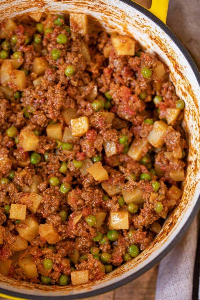 Indian Keema Aloo Beef and Potatoes side of pot