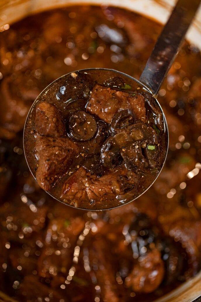Beef and Mushroom Stew ladle