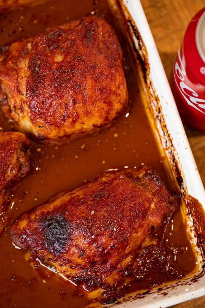 Baked Coca Cola Chicken in pan