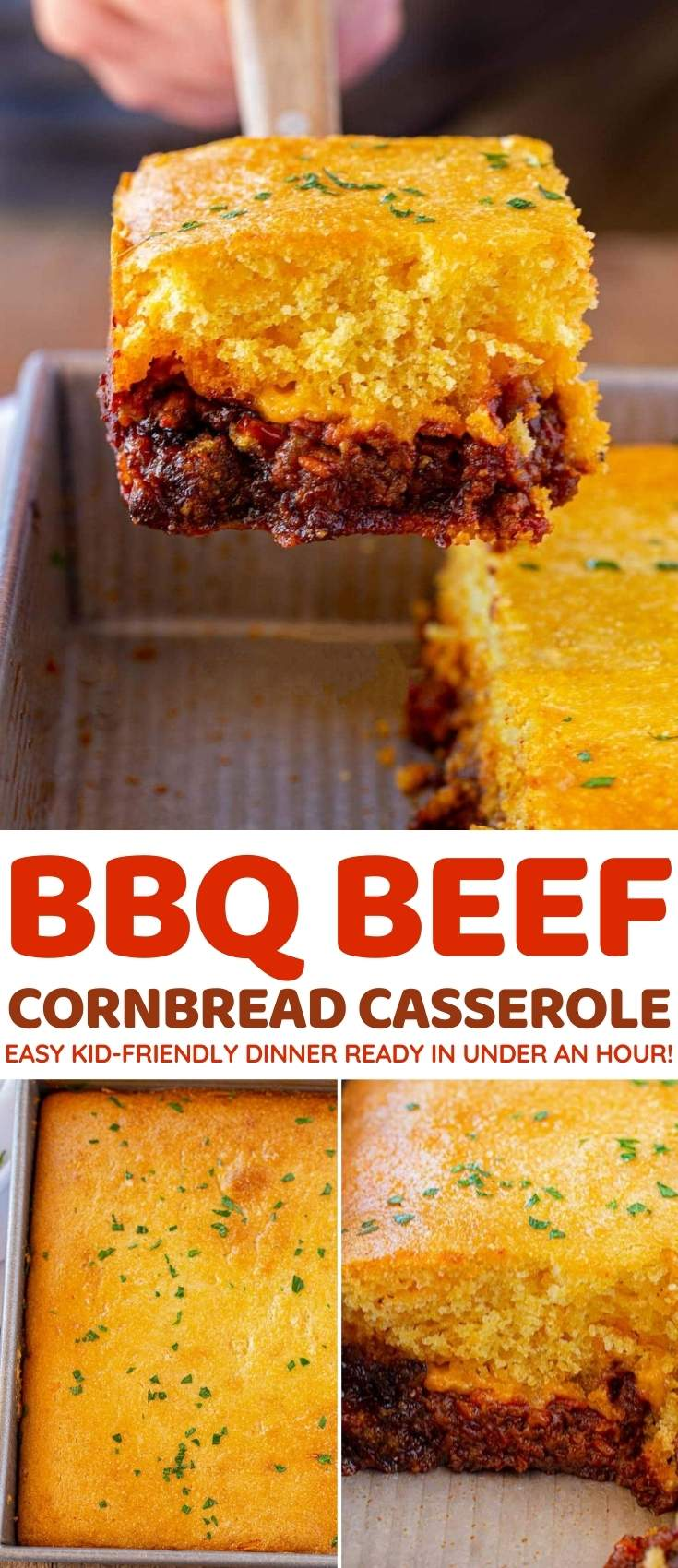 BBQ Beef Cornbread Casserole collage