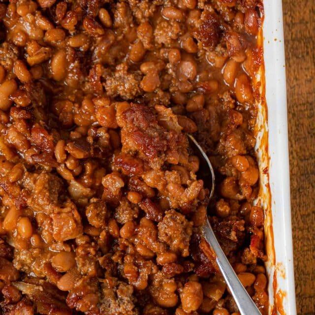 Baked Bean Casserole in baking dish