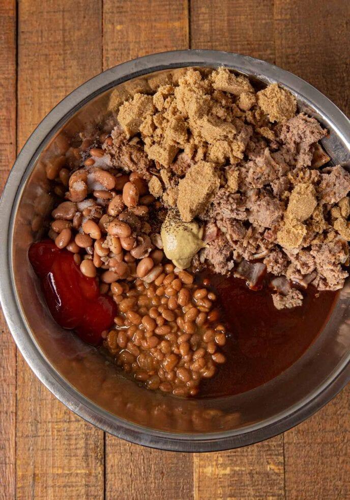 Baked Bean Casserole ingredients in bowl
