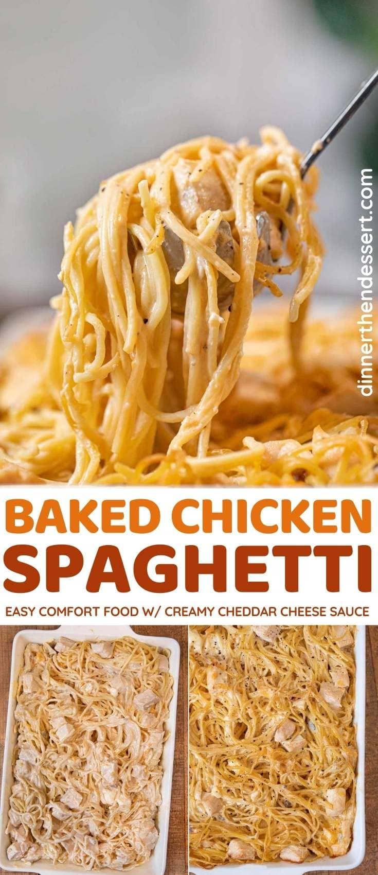 Baked Chicken Spaghetti collage