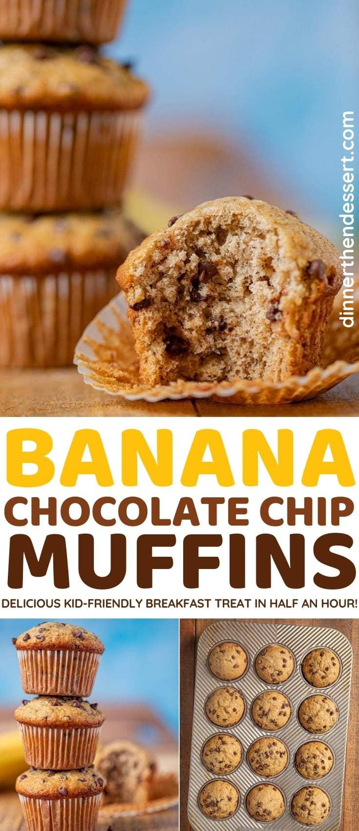 Banana Chocolate Chip Muffins collage