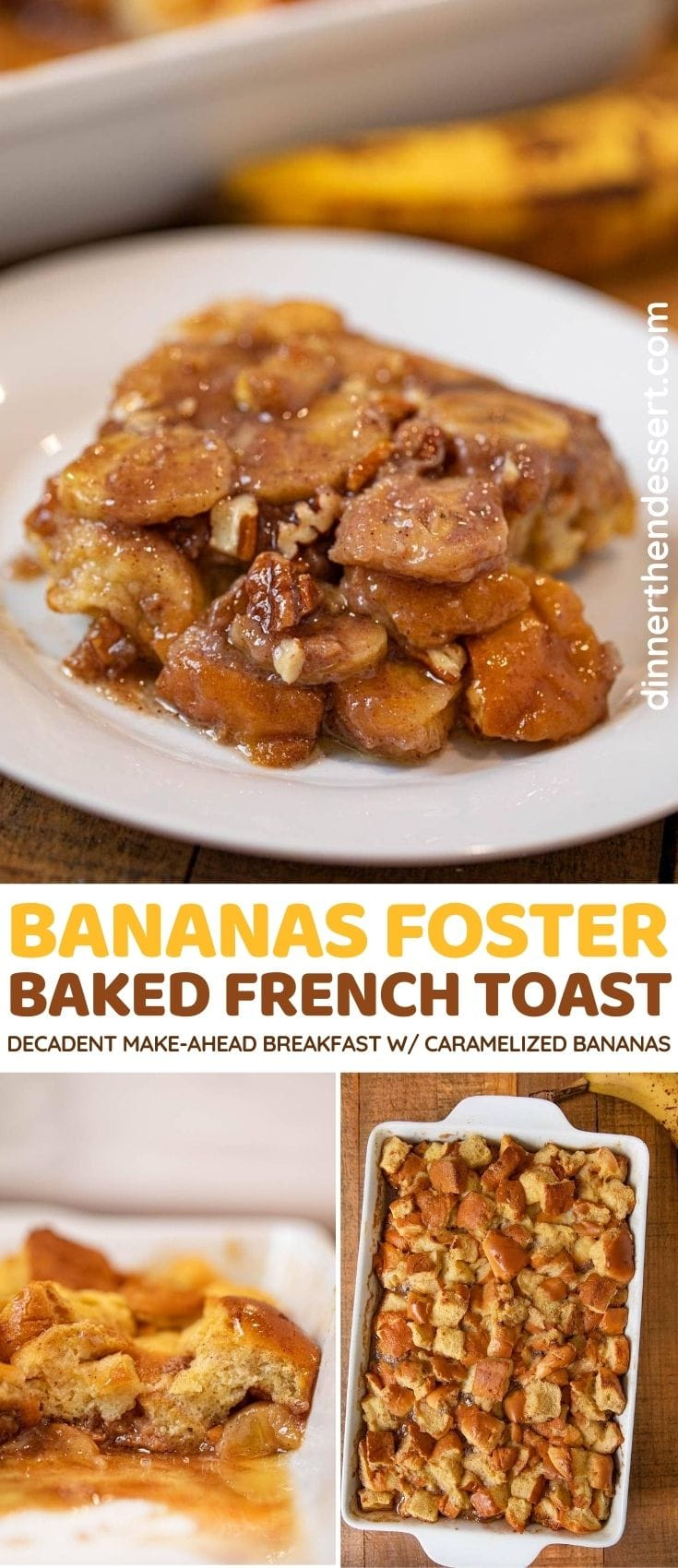 Bananas Foster Baked French Toast collage