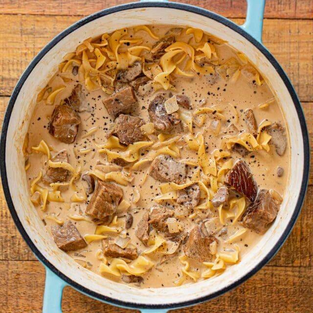 Beef Stroganoff Soup in pot