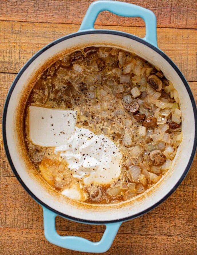 Beef Stroganoff Soup ingredients in pot before cooking