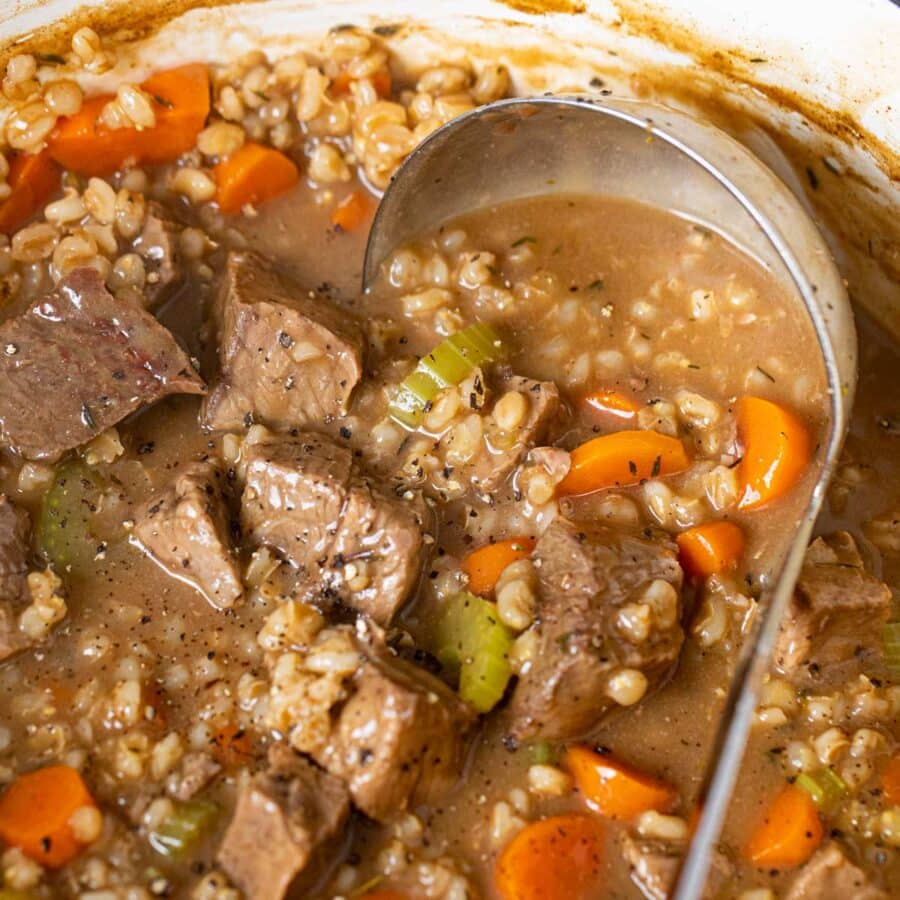 Beef and Barley Soup with ladle