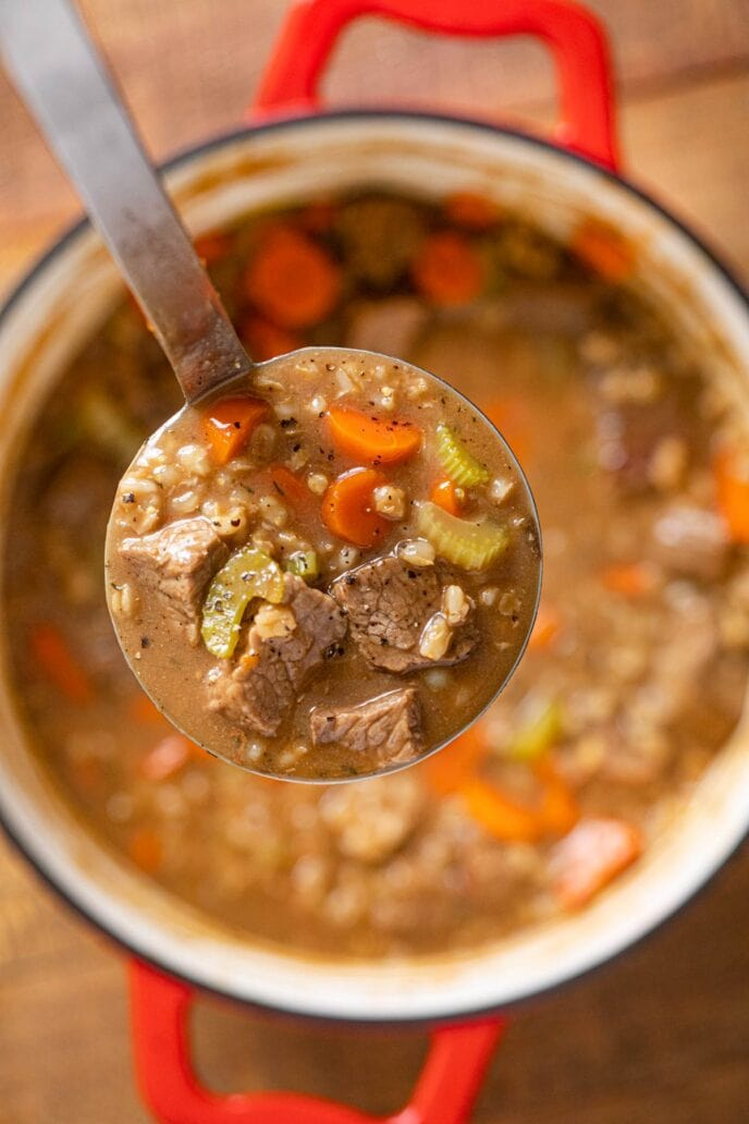 ladle full of Beef and Barley Soup