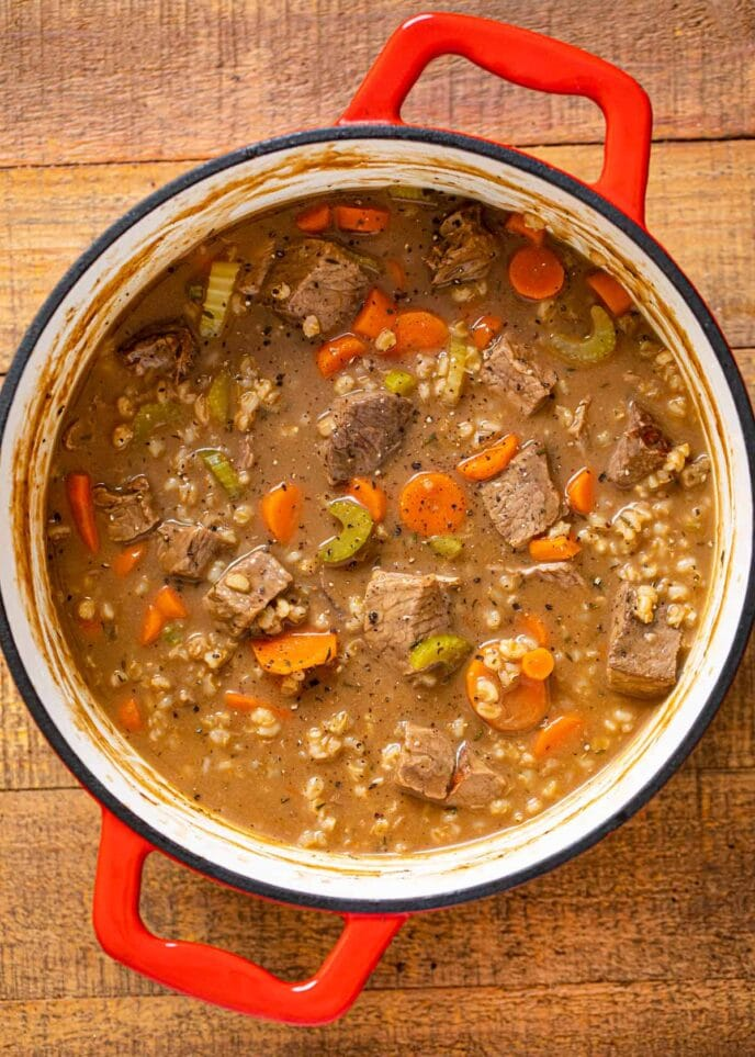 Beef and Barley Soup in colorful pot