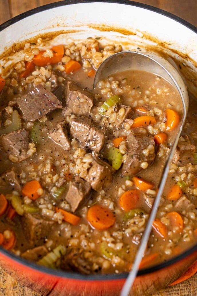 cropped photo of Beef and Barley Soup