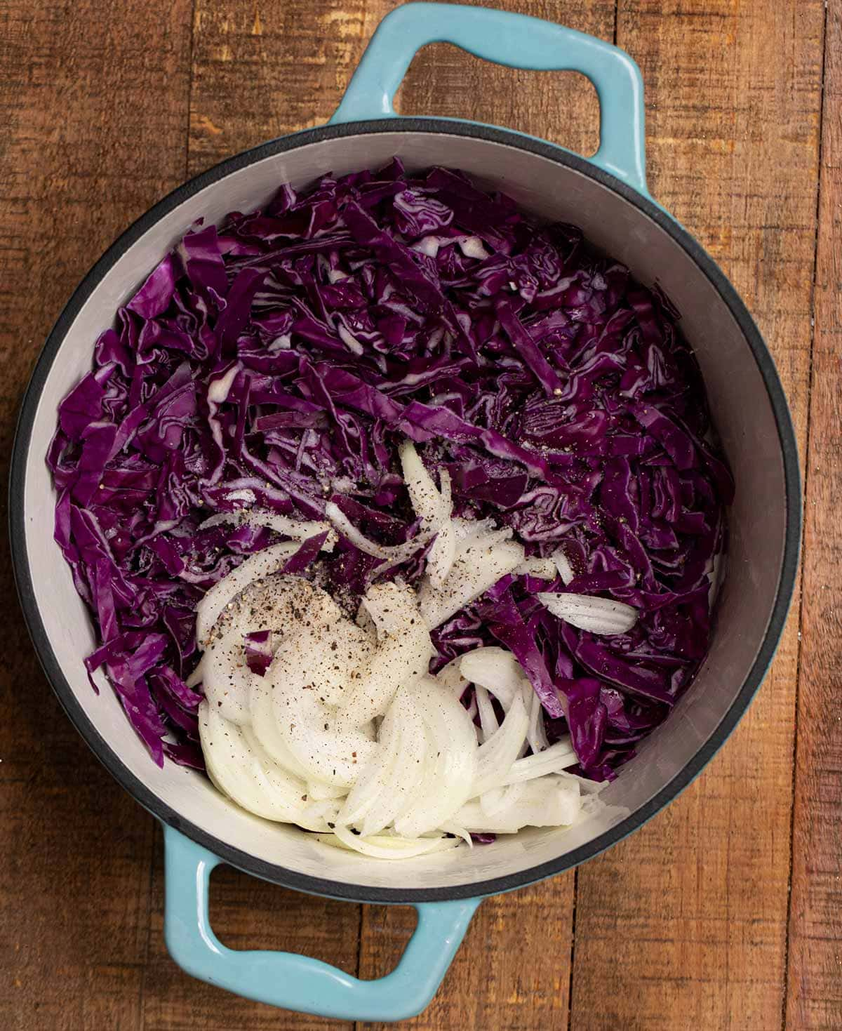 Braised Cabbage ingredients in pot