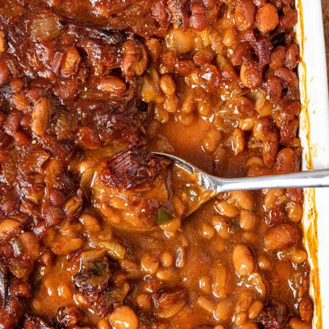 Brisket Baked Beans with spoons