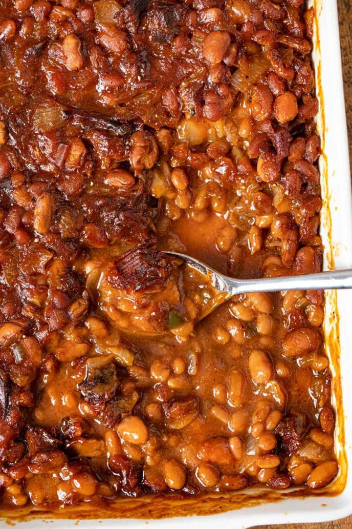 Brisket Baked Beans in baking dish