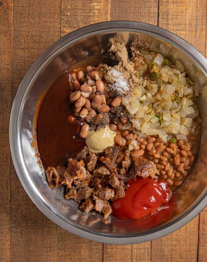Brisket Baked Beans ingredients in bowl