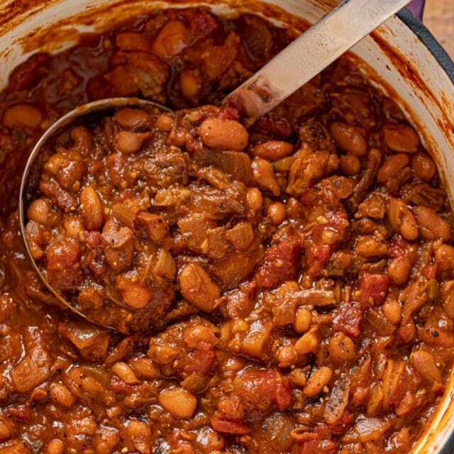 Brisket, Beer and Bean Chili in pot