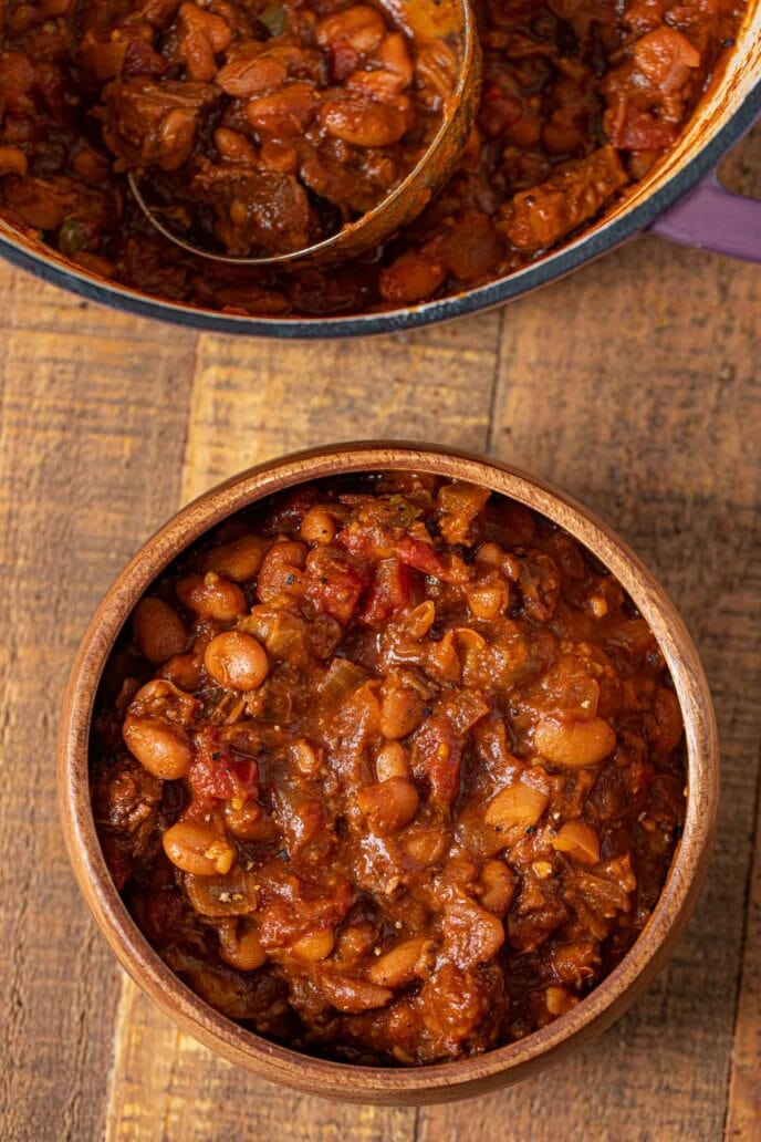 Brisket, Beer and Bean Chili in bowl