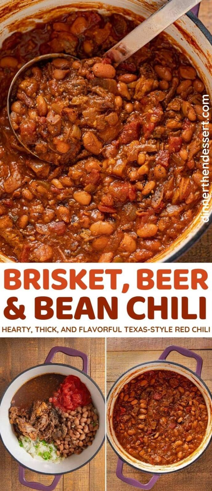 Brisket Beer and Bean Chili collage