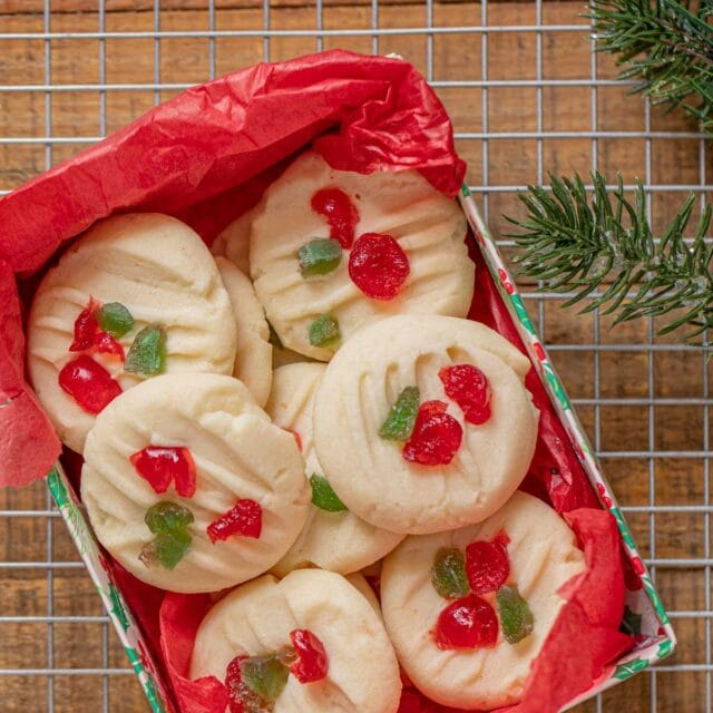 Candied Shortbread Cookies in Christmas gift box