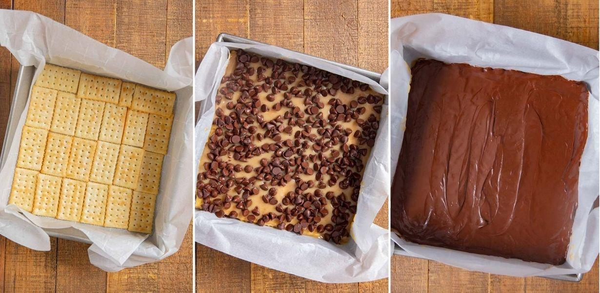 Caramel Cracker Layer Bars prep collage in baking pan