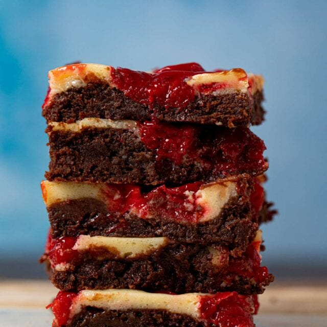 Cherry Cheesecake Brownies in stack
