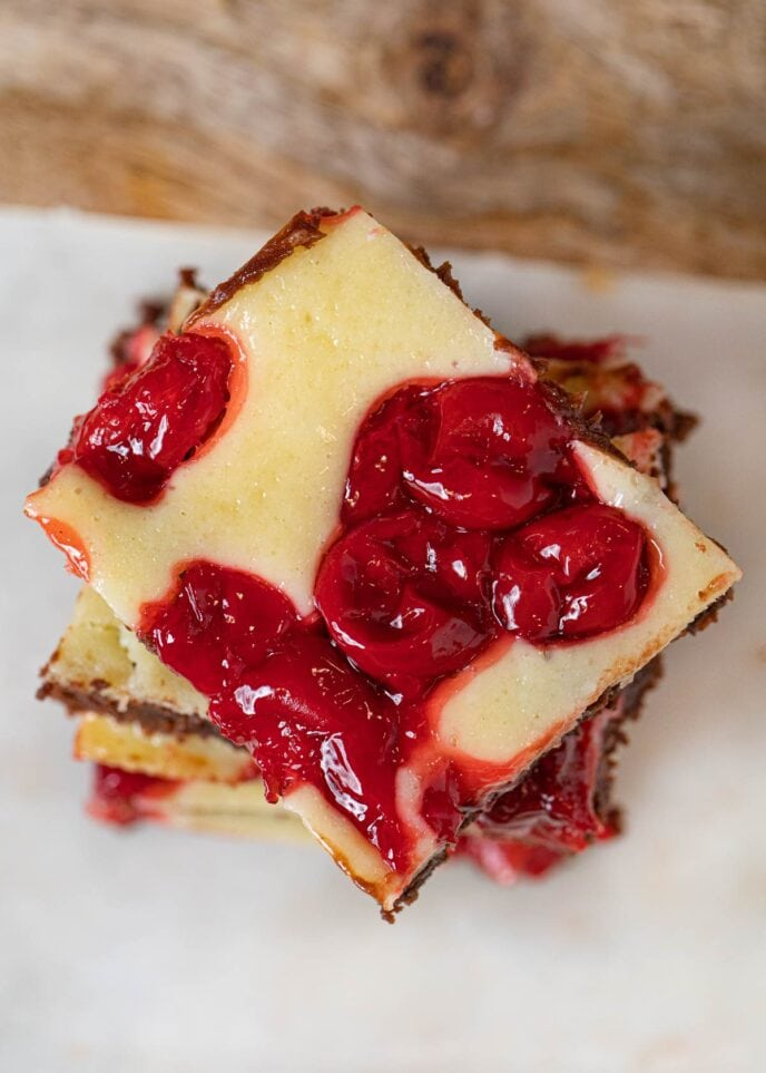 top-down view of Cherry Cheesecake Brownies in stack