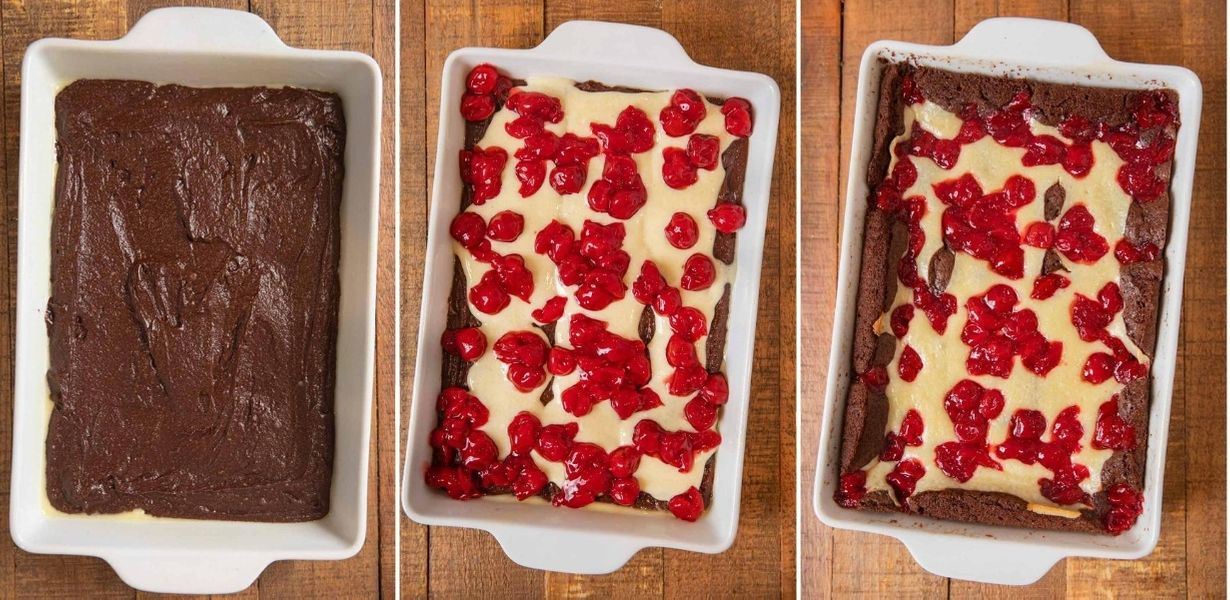 Cherry Cheesecake Brownies collage of prep steps