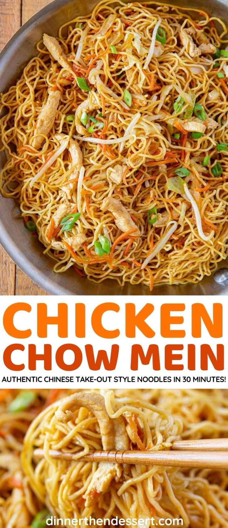 Chicken Chow Mein collage