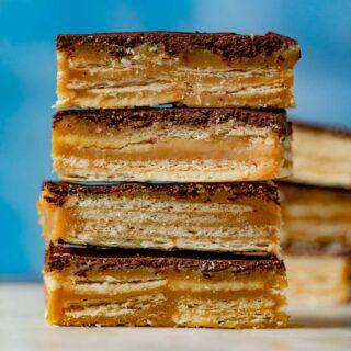 Chocolate Caramel Cracker Bars in stack